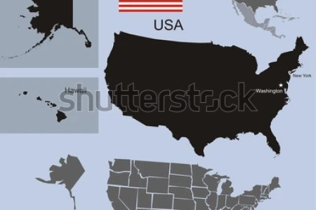 high detailed united states map set stock vector 255007327