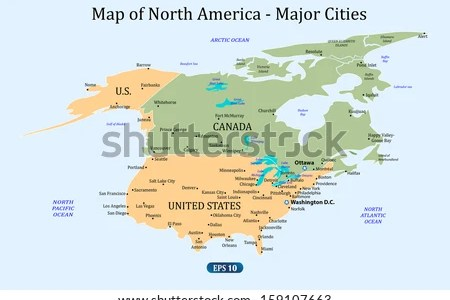 Map Of North America With Major Cities - Map of united states of america with major cities