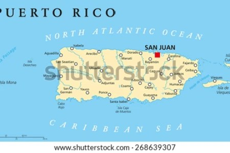 puerto rico political map with capital san juan, a united