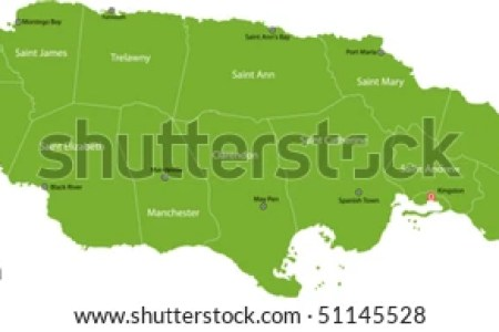 stock vector jamaica map with parishes borders and the capital cities 51145528
