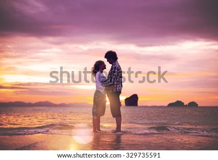 Couple Love Beach Romance Togetherness Concept - stock photo