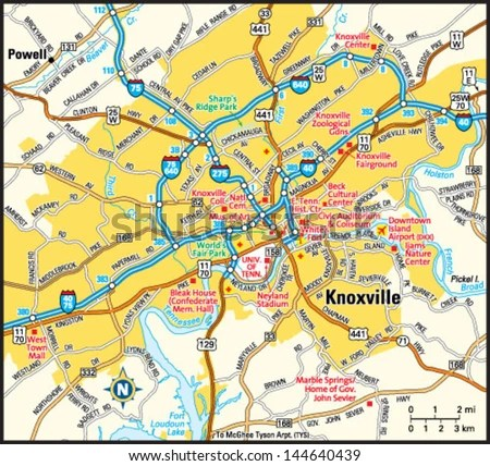map to knoxville