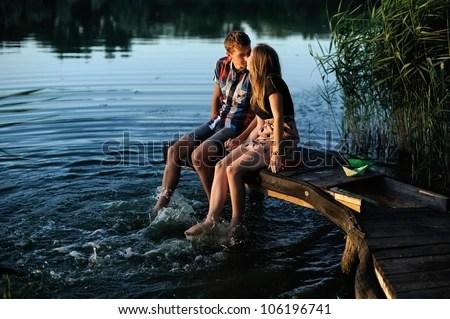 Love couple stolling - stock photo
