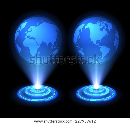 Technology Background Vector World Map Globes Stock Vector 227959612     Vector world map globes  Eastern and western hemispheres  Eps10  Hologram