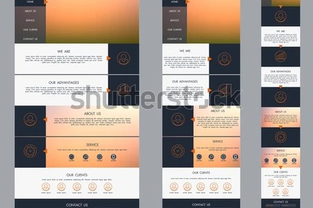 stock vector one page website template with blurred background desktop tablet mobile version adaptive design 273523646