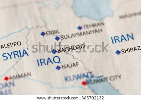 Closeup Baghdad Iraq On Political Map Stock Photo  Royalty Free     Closeup of Baghdad  Iraq on a political map of Middle East