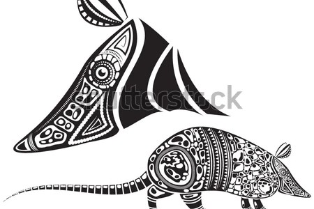 stock vector vector illustration of a totem animal tattoo armadillo in graphic black and white style 150684686