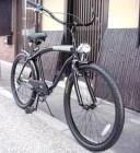 【送料無料】ビーチクルーザー 自転車 ◆シマノ6段変速◆極太フレーム◆砲弾型ライト付◆ブラック◆