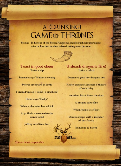 Medium Of Game Of Thrones Drinking Game