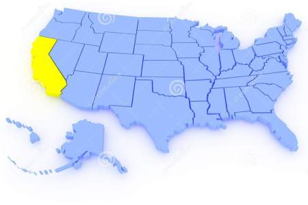 3d map of united states state california royalty free