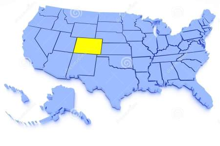 3d map of united states state colorado stock photo