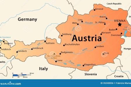austria map illustration featuring main cities rivers highest peak 35240056
