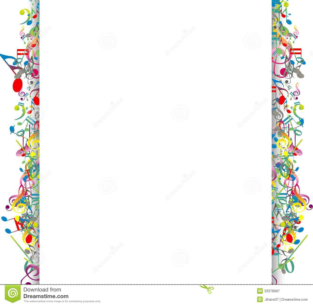 Colorful Musical Notes Border Colorful Music Notes Border