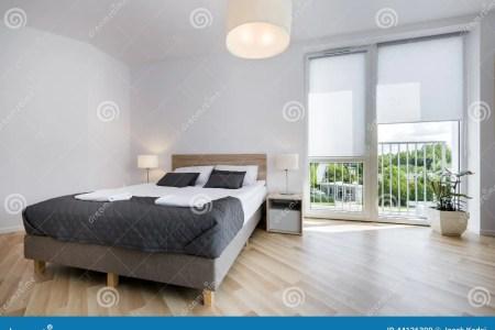 bright and comfortable bedroom interior design stock photo