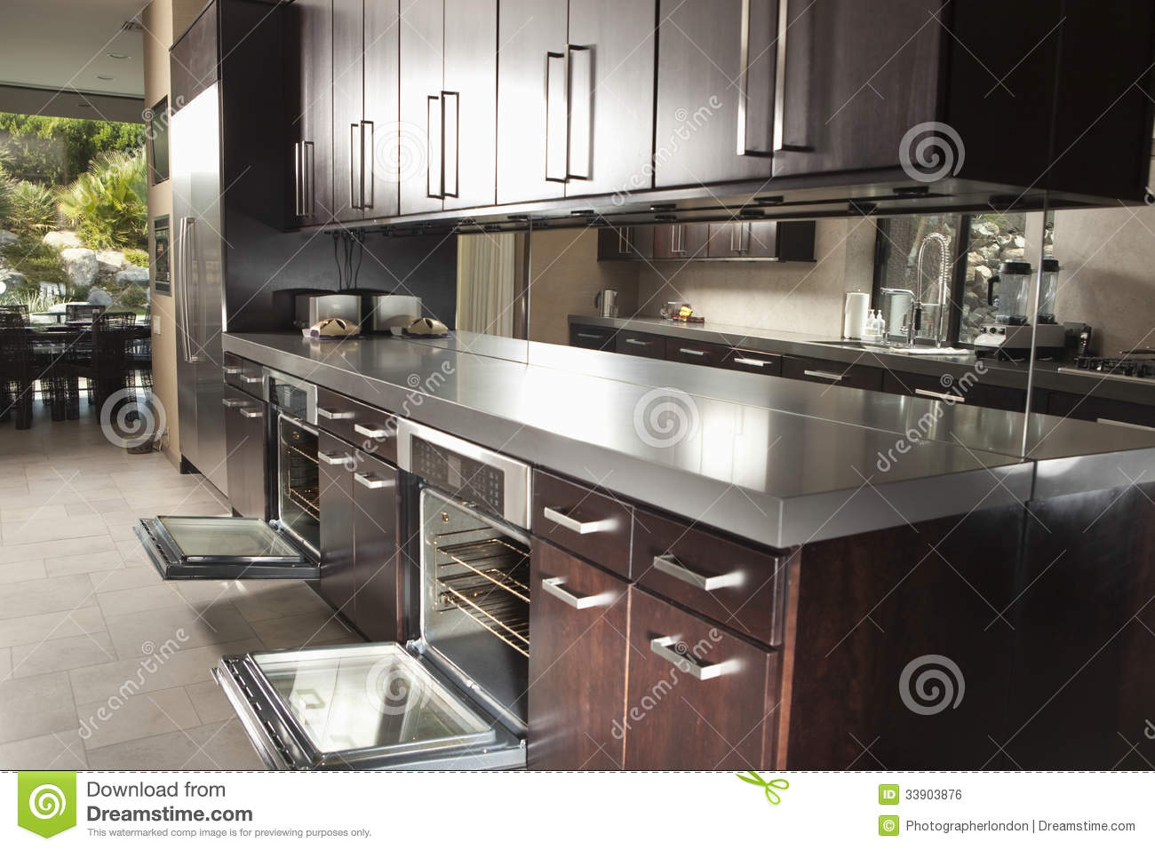 royalty free stock image commercial kitchen open oven cabinets interior image stock kitchen cabinets Commercial Kitchen With Open Oven And Cabinets