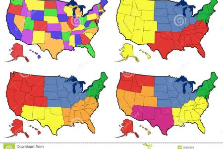 four versions of regional map of united states stock photo
