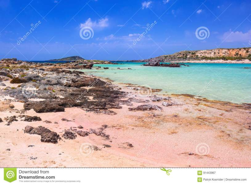 Elafonissi Beach With Pink Sand On Crete Stock Image   Image of     Download Elafonissi Beach With Pink Sand On Crete Stock Image   Image of  landmark  landscape