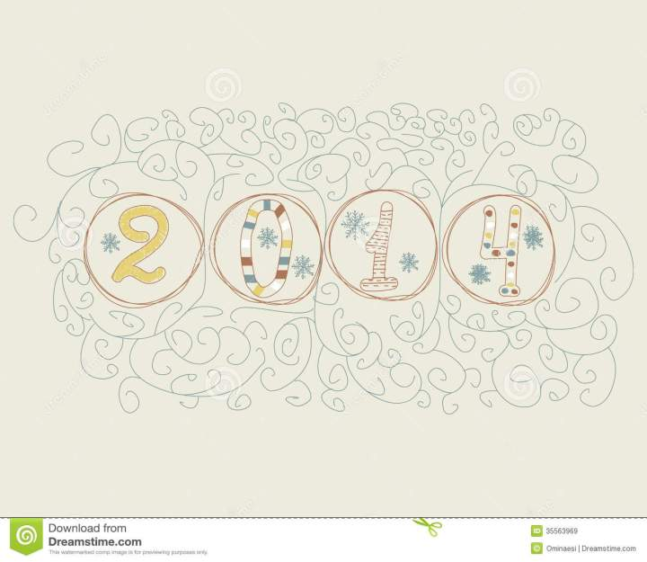 New Year Card Hand Drawn 2014 Numbers Vector Illustration.12 New Year 2014 Free Credit Cards Numbers 2014