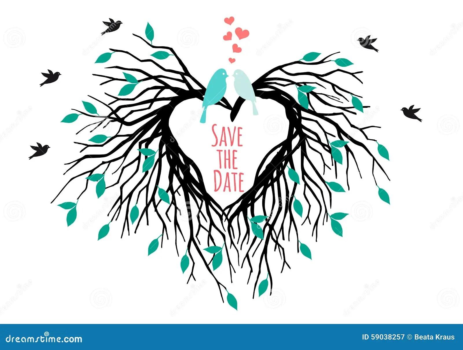 stock illustration heart wedding tree birds vector shaped save date illustration image wedding tree Heart wedding tree with birds vector