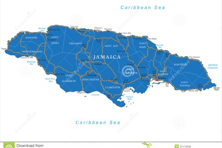 jamaica map highly detailed vector administrative regions main cities roads 31114333