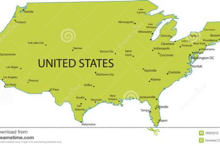 map of usa with major cities stock photography image