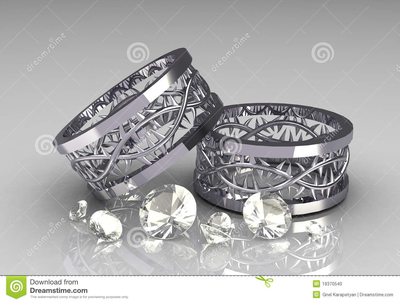 stock photo pair christs crown white gold wedding bands image gold wedding bands Pair of Christs Crown White Gold Wedding Bands