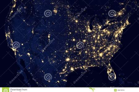 usa city lights visible geography stock photo image