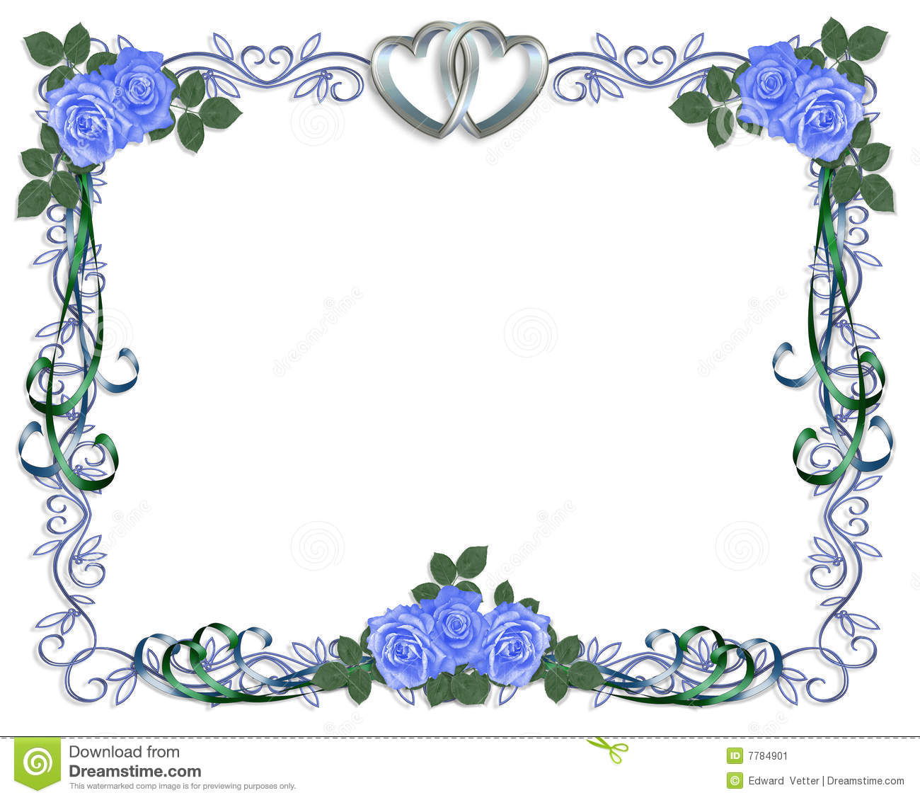 Wedding Invitation Blue Borders Matik For