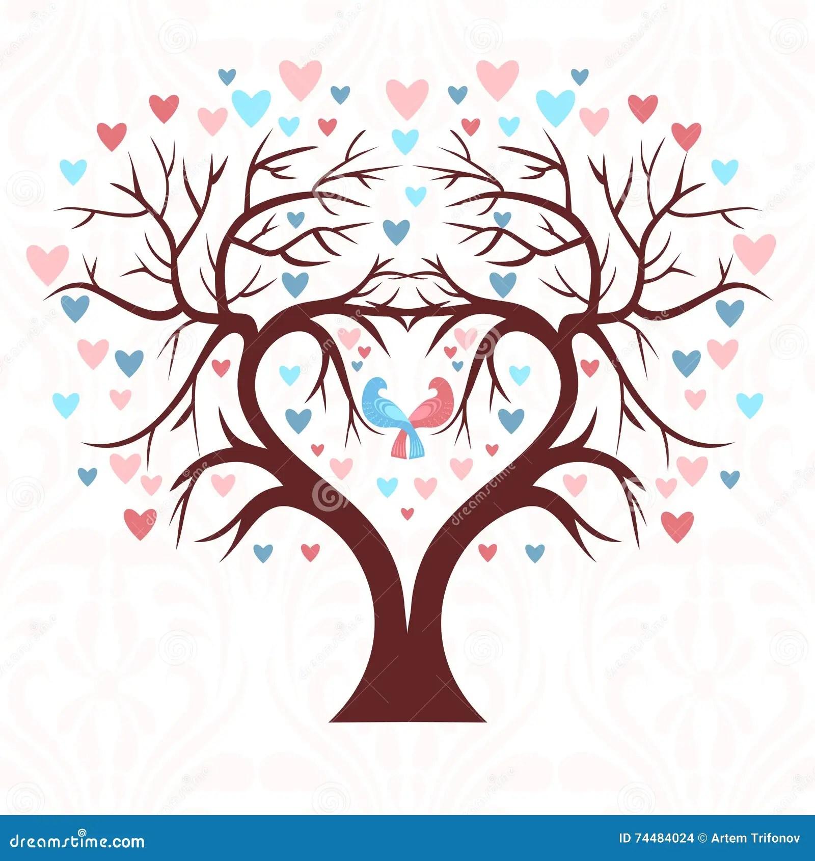 stock illustration wedding tree shape heart two birds colorful hearts image wedding tree The wedding tree in the shape of a heart with two birds