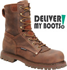 "Men's Carolina Boots CA8528 -  8"" Brown Waterproof Composite Toe Low Heel Logger"
