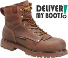 "Men's Carolina Boots CA7028 -  6"" Brown Waterproof Low Heel Logger"