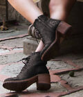 LB713037C LIBERTY BLACK MIDNIGHT JET MOTO STACKED LACE UP ANKLE BOOTS