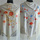 Cream Spanish flamenco shawl with multicoloured embroidery 66 x 39