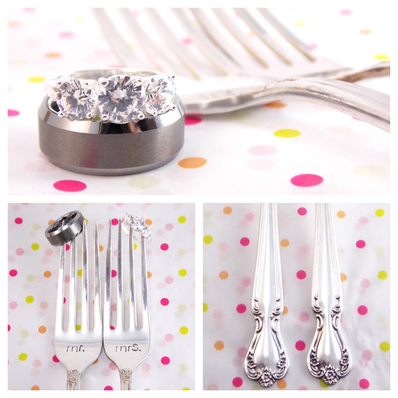 Hand-stamped antique wedding forks by Block & Hammer