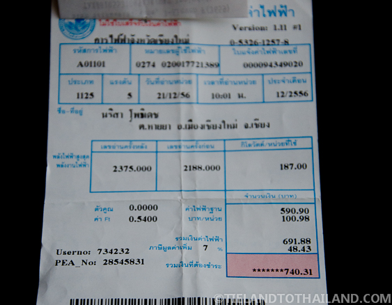Electricity Payment Receipt Chiang Mai Monthly Bills