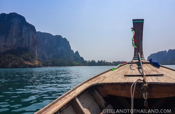 Long-tail boat arriving at Railay Beach