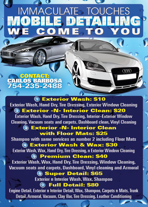 Immaculate Mobile Car Wash Promotional Flyer Design