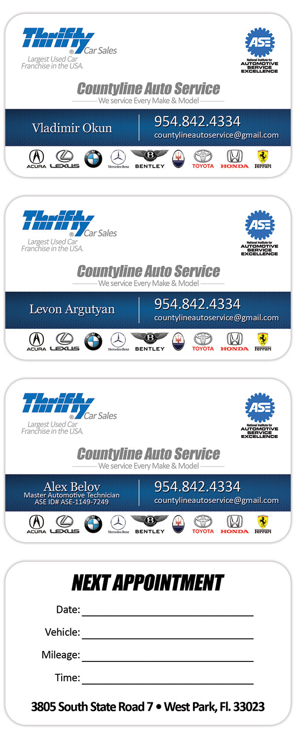 Thrifty Car Sales Business Card Design Amp Printing In Florida