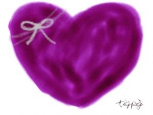 ネットショップ、バナー広告、webデザインのフリー素材:大人可愛い紫色のハートとリボンのイラスト