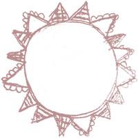 フリー素材:アイコン(twitter,mixi,ブログ);大人可愛いくすんだサーモンピンクの太陽のメダルみたいな鉛筆イラスト;200×200pix