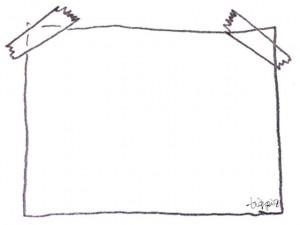 フリー素材:フレーム;大人可愛いモノトーンの鉛筆画のテープでとめた紙のイラストの飾り枠;640×480pix