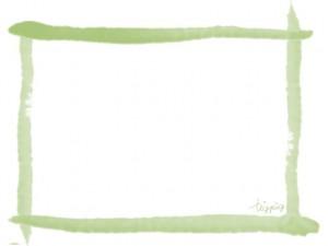 和風のフリー素材:フレーム;にじみが大人可愛い抹茶色のラインのwabデザイン素材:640×480pix