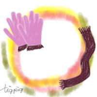 大人可愛いフリー素材:アイコン,バナー(twitter);ガーリーな手袋とマフラーのフレーム;200×200pix
