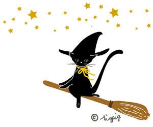 ハロウィン魔女の黒猫と星のイラスト:300×250pix