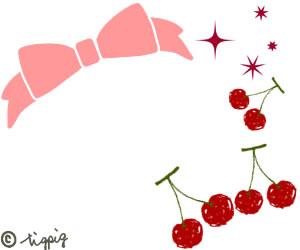 ピンクのリボンとペン画風のさくらんぼのイラスト:300×250pix