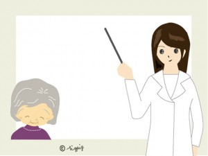 白衣の女性とおばあちゃんのイラストのフレーム:640×480pix