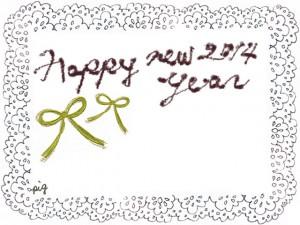 年賀のフリー素材:HAPPY NEW YEAR 2014の手描き文字とリボンとモノトーンのレースのフレーム:640×480pix