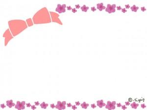 桃の花とピンクのリボンの大人可愛いフレーム