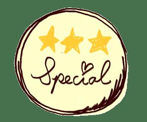 Specialの手描き文字と三ツ星のラベル風イラスト:300×250pix