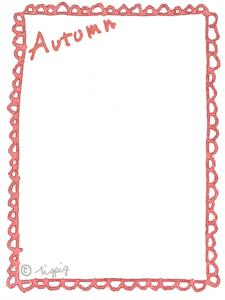 大人可愛い水彩風のAutumnの手描き文字とレースの縦フレーム:640×480pix
